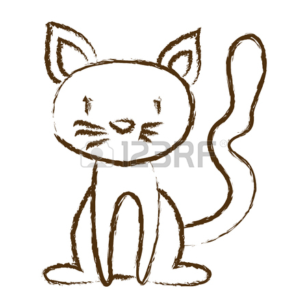 450x450 A Colorful Graphic Of Cat Sitting Vector Illustration Royalty Free