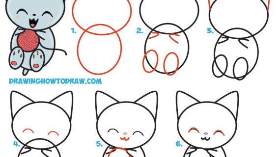 570x320 Cat Step By Step Drawing How To Draw Cute Kawaii Kitten Cat