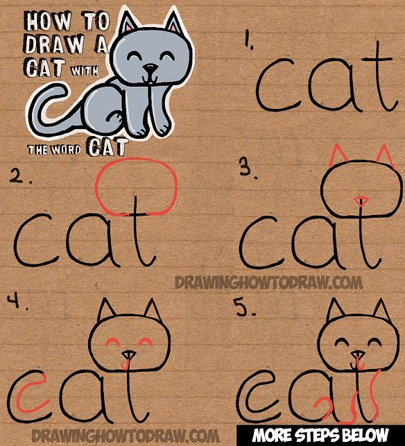 584x643 How To Draw A Cat From The Word Cat Simple Step By Step Drawing