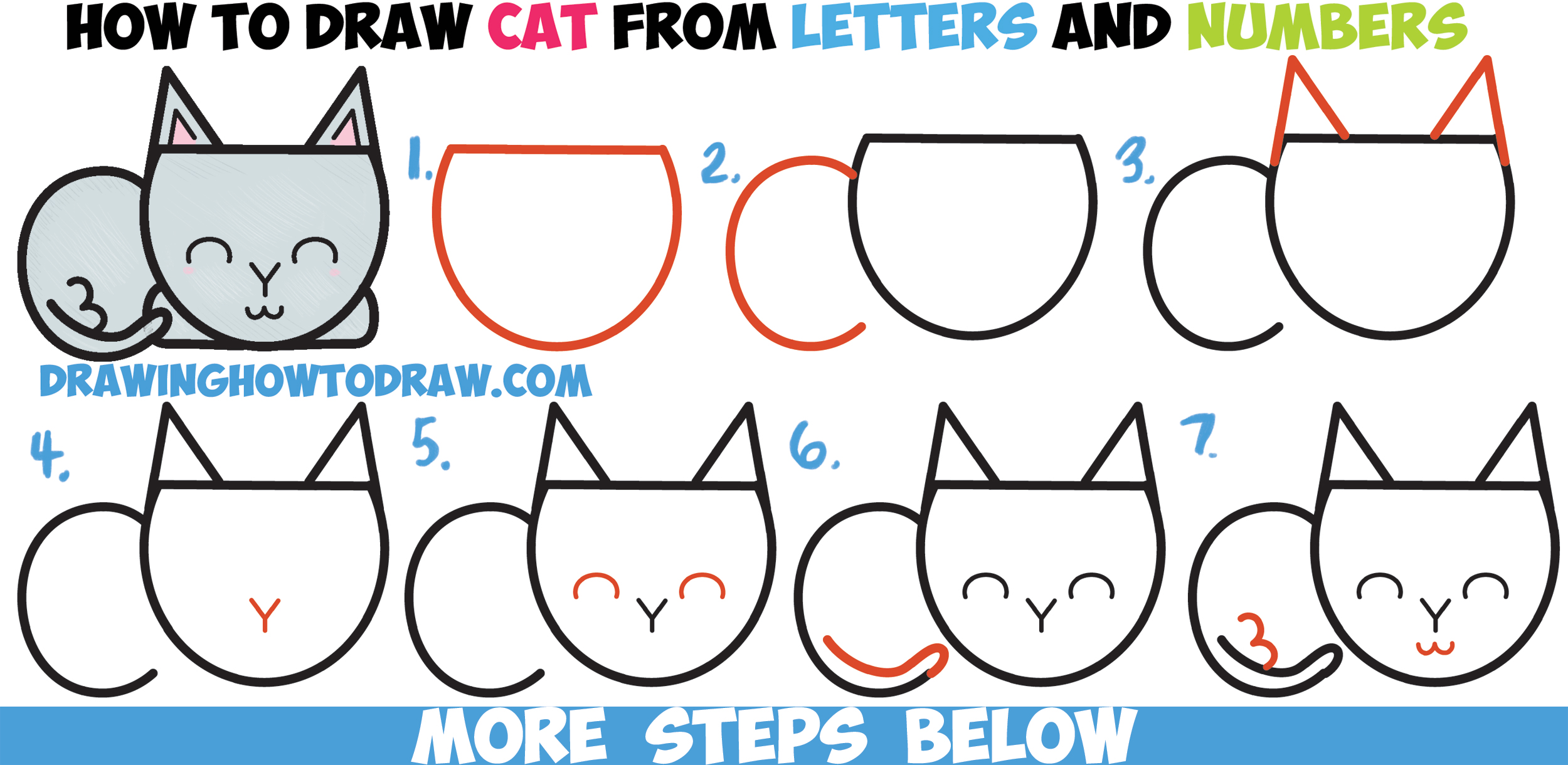 Cat step by step drawing at getdrawings free for personal use 2500x1220 how to draw a cute cartoon cat completely from letters numbers altavistaventures Gallery