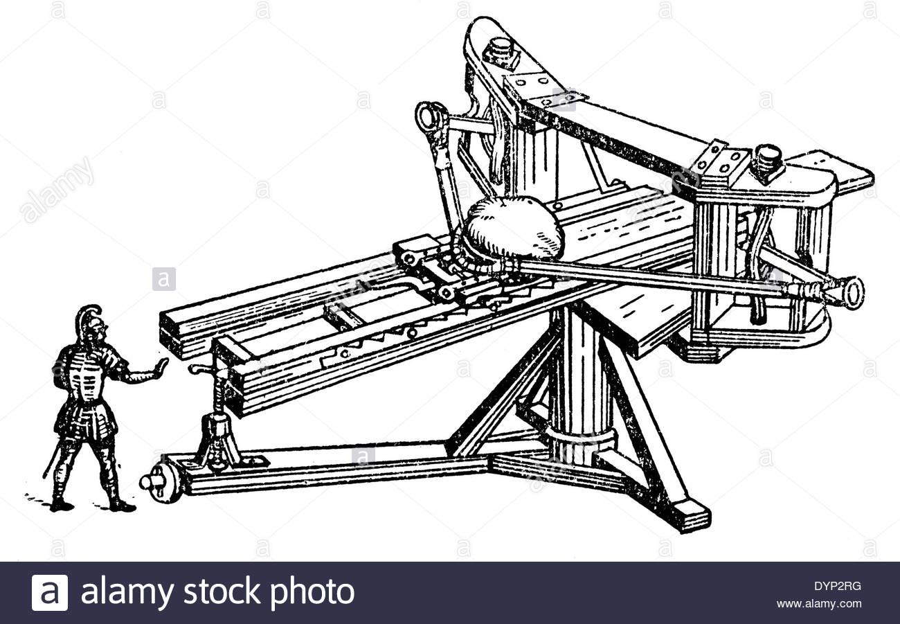 1300x901 Catapult, Ancient Artillery, Illustration From Soviet Encyclopedia