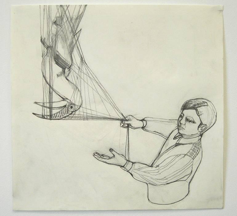 770x703 Saatchi Art Bird Catch Drawing By Ulrika Blide