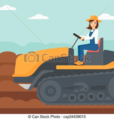 450x470 Farmer Driving Catepillar Tractor. A Woman Driving A Vector