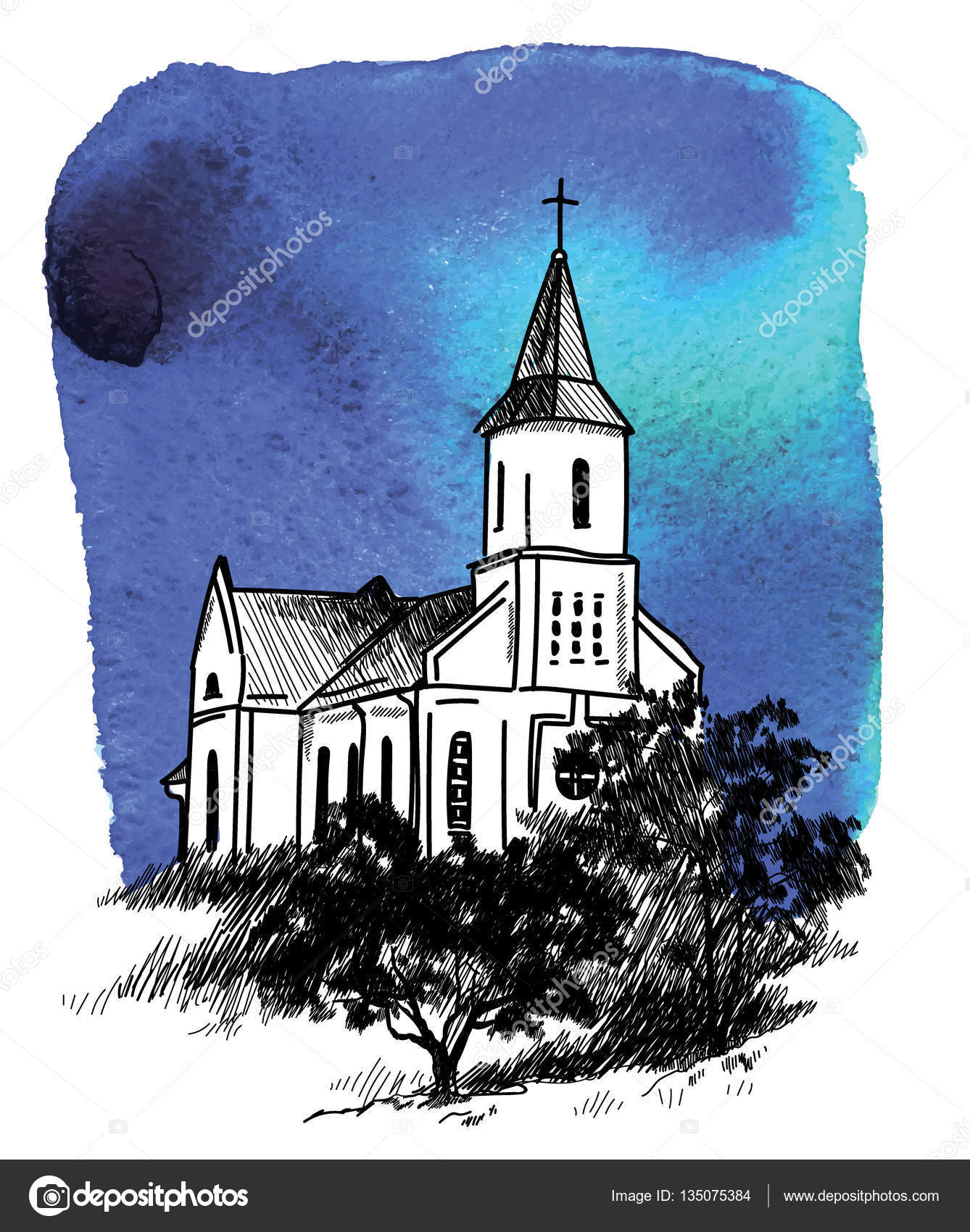 1338x1700 Catholic Church Vector Freehand Drawing In Vintage Style Old