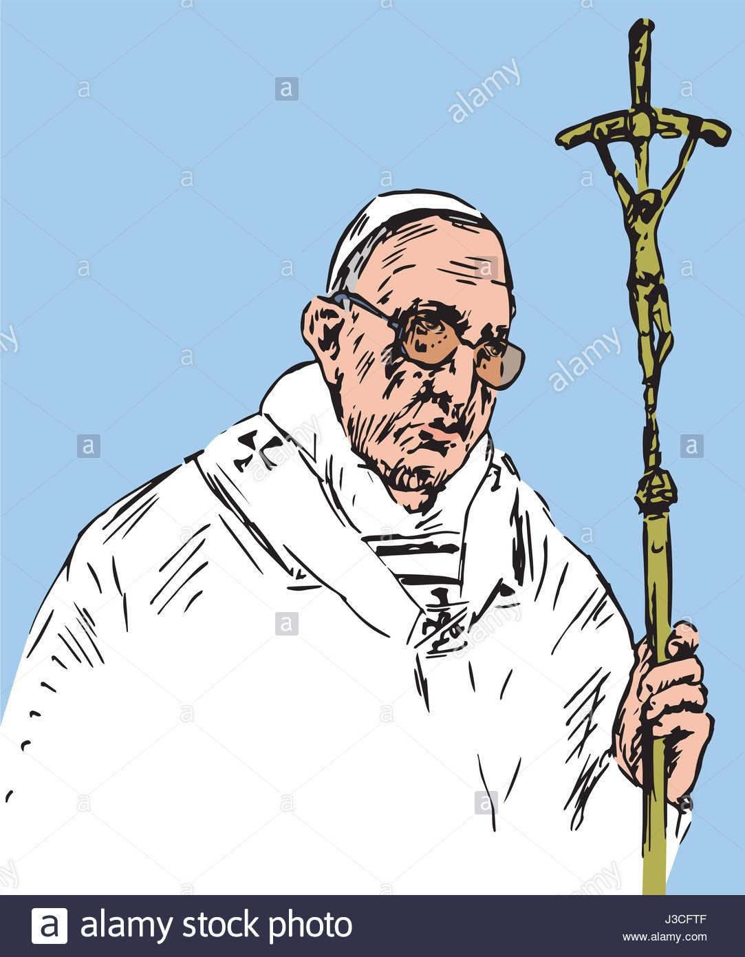1083x1390 Pope Francis (Jorge Mario Bergoglio) Holding Cross, Pope