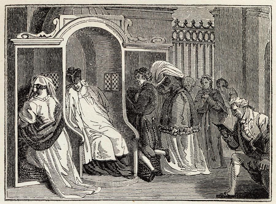 900x667 Confession In A Roman Catholic Church Drawing By Mary Evans