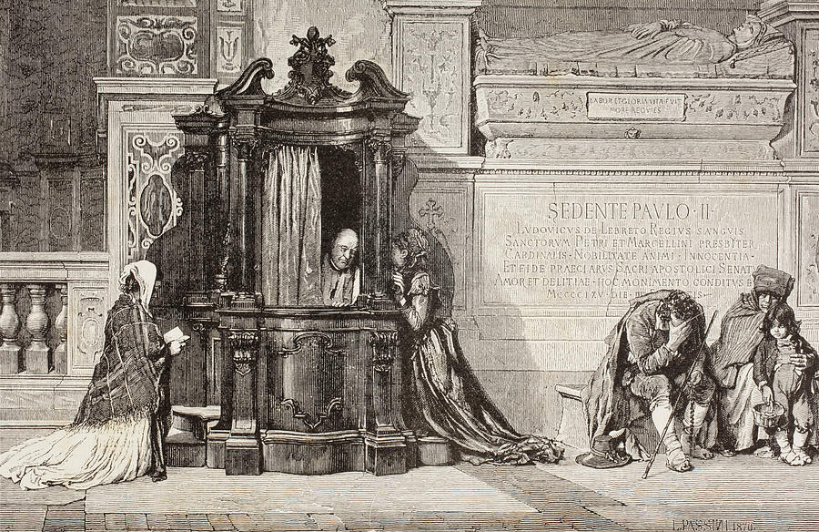 900x584 Confession In An Italian Catholic Drawing By Vintage Design Pics