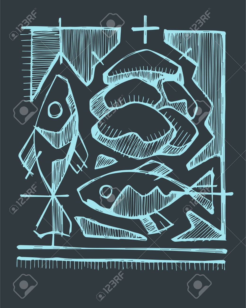 1040x1300 Hand Drawn Vector Illustration Or Drawing Of 2 Fishes And 5 Breads