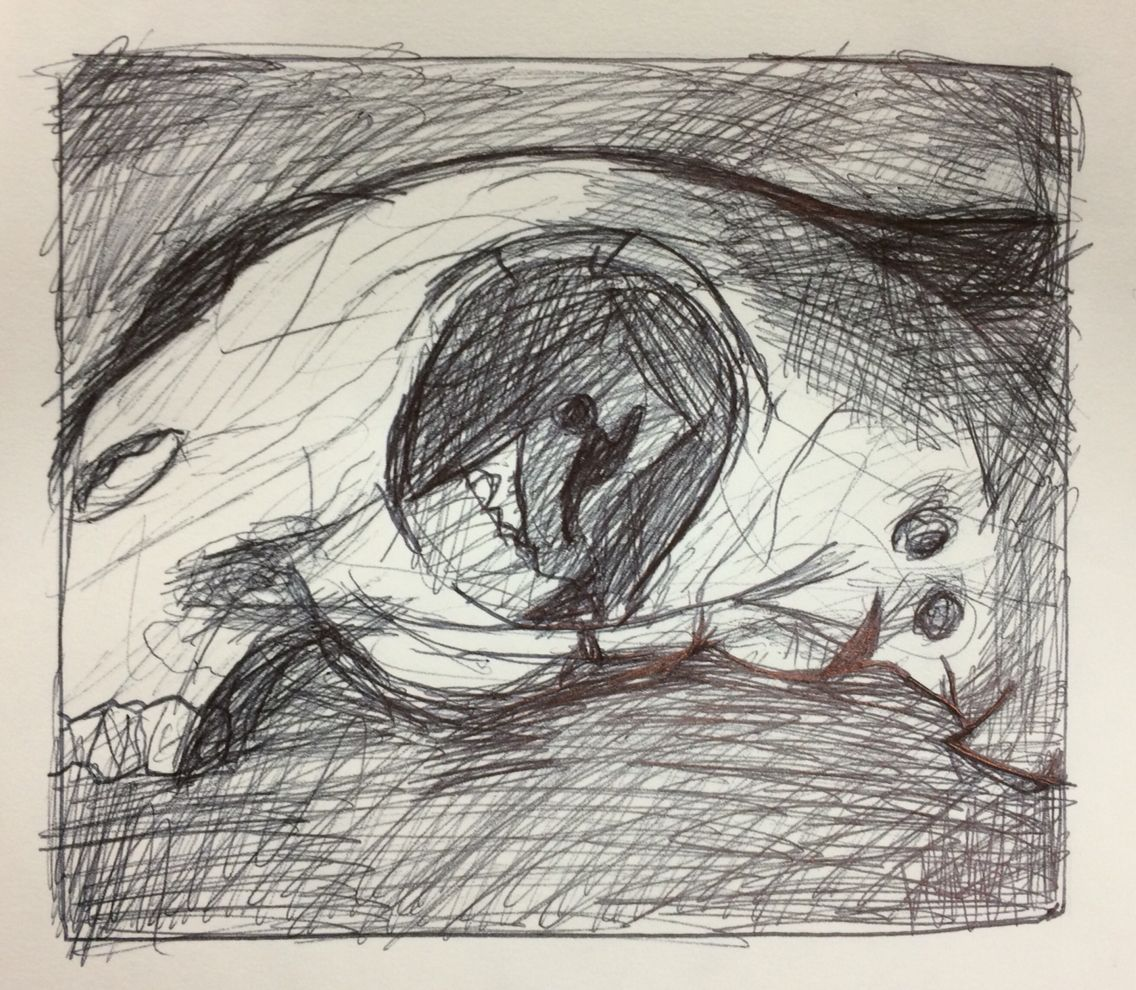 1136x990 Olivia, Observational Drawing Using Biro Inspired By Henry Moore