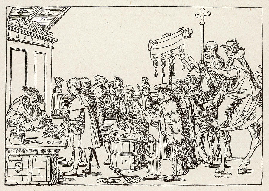 900x639 The Sale Of Indulgences By Catholic Drawing By Mary Evans Picture