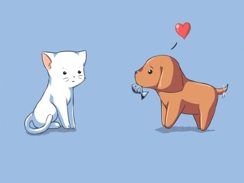 500x374 Adorable Cat And Dog Couple Dogcat Facescliparts For Wedding