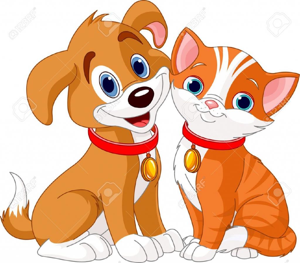 1024x899 Cartoon Drawings Of Dogs And Cats Cute Cat Dog Cartoon Line Art