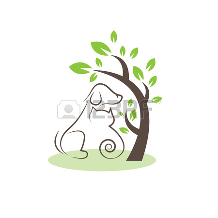 450x450 Line Drawing Cats And Dogs Under The Tree Royalty Free Cliparts