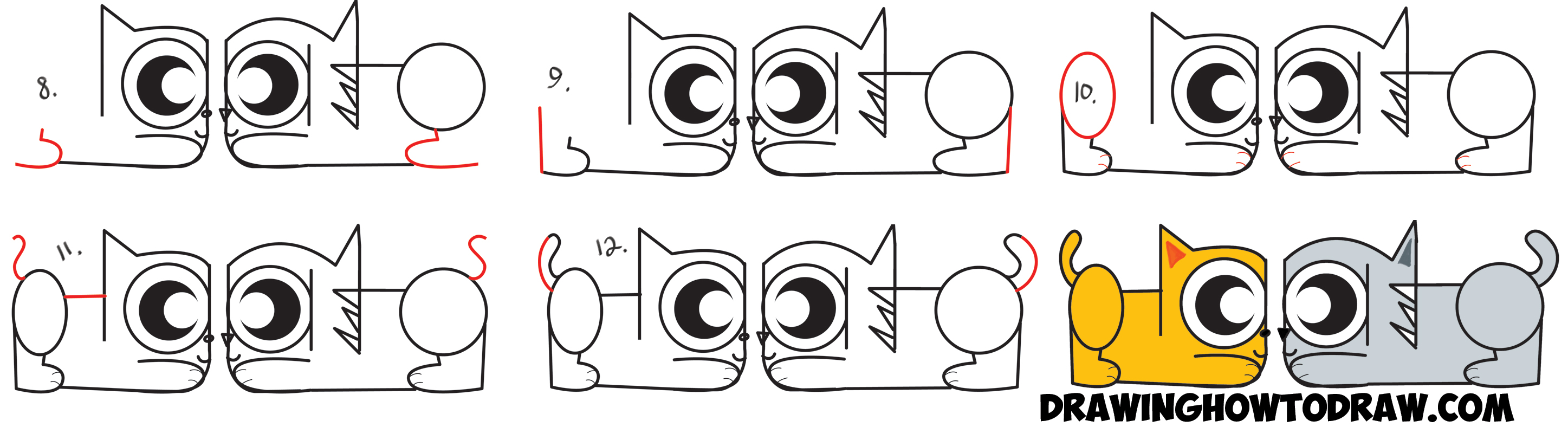 2894x788 How To Draw Cartoon Cats From The Spanish Word Gato