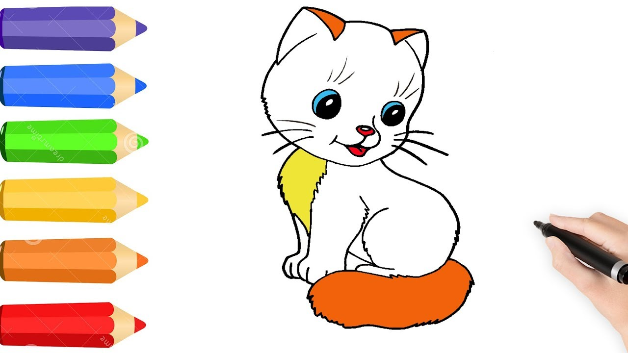1280x720 How To Draw Rainbow Funny Cute Cat W Coloring Page For Kids Learn
