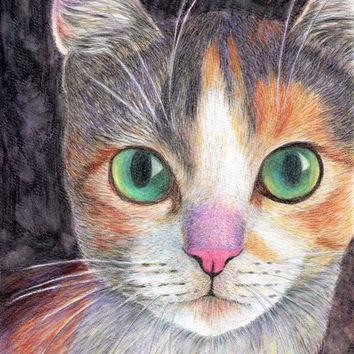 354x354 Cat Face Drawing Art Print