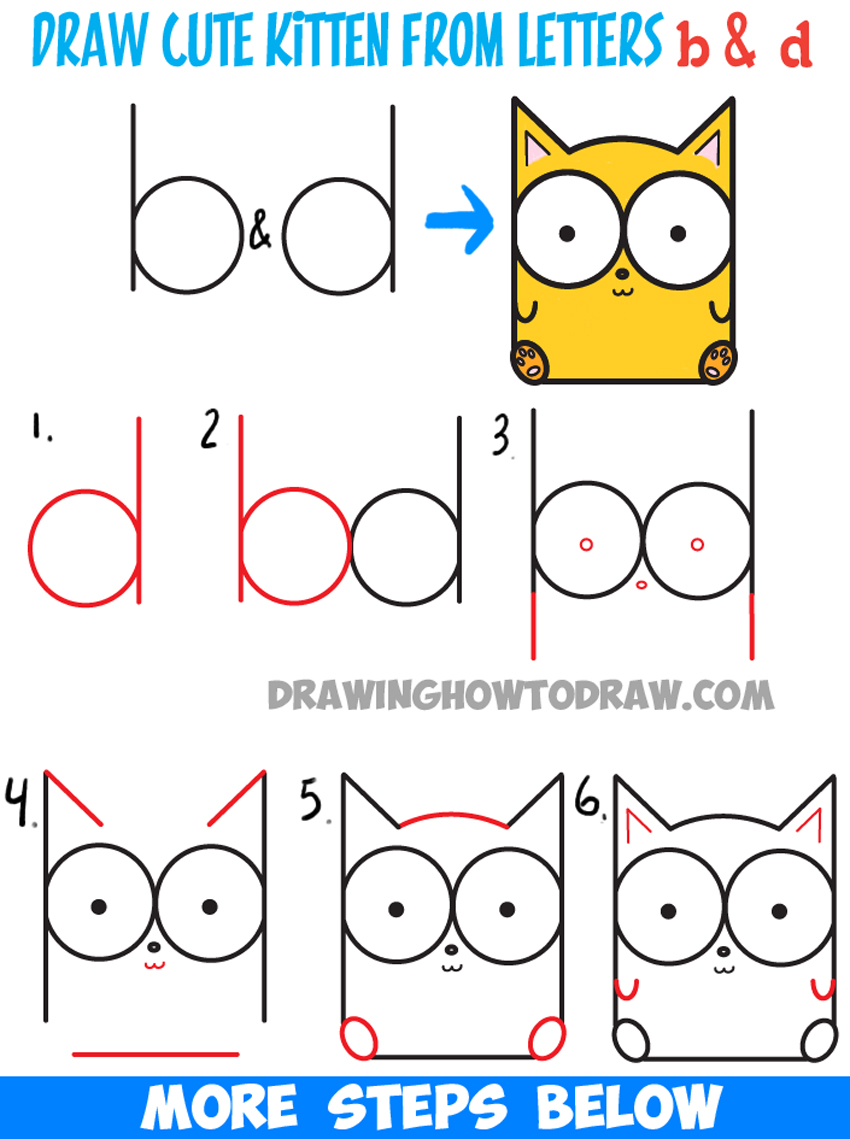 850x1139 How To Draw Cartoon Baby Kitty Cat Or Kitten From Letters Easy
