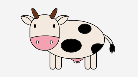 454x255 2 Easy Tutorials On How To Draw A Cow For Kids