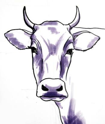 350x415 Bull Head Drawing Art Cow, Drawings And Paintings