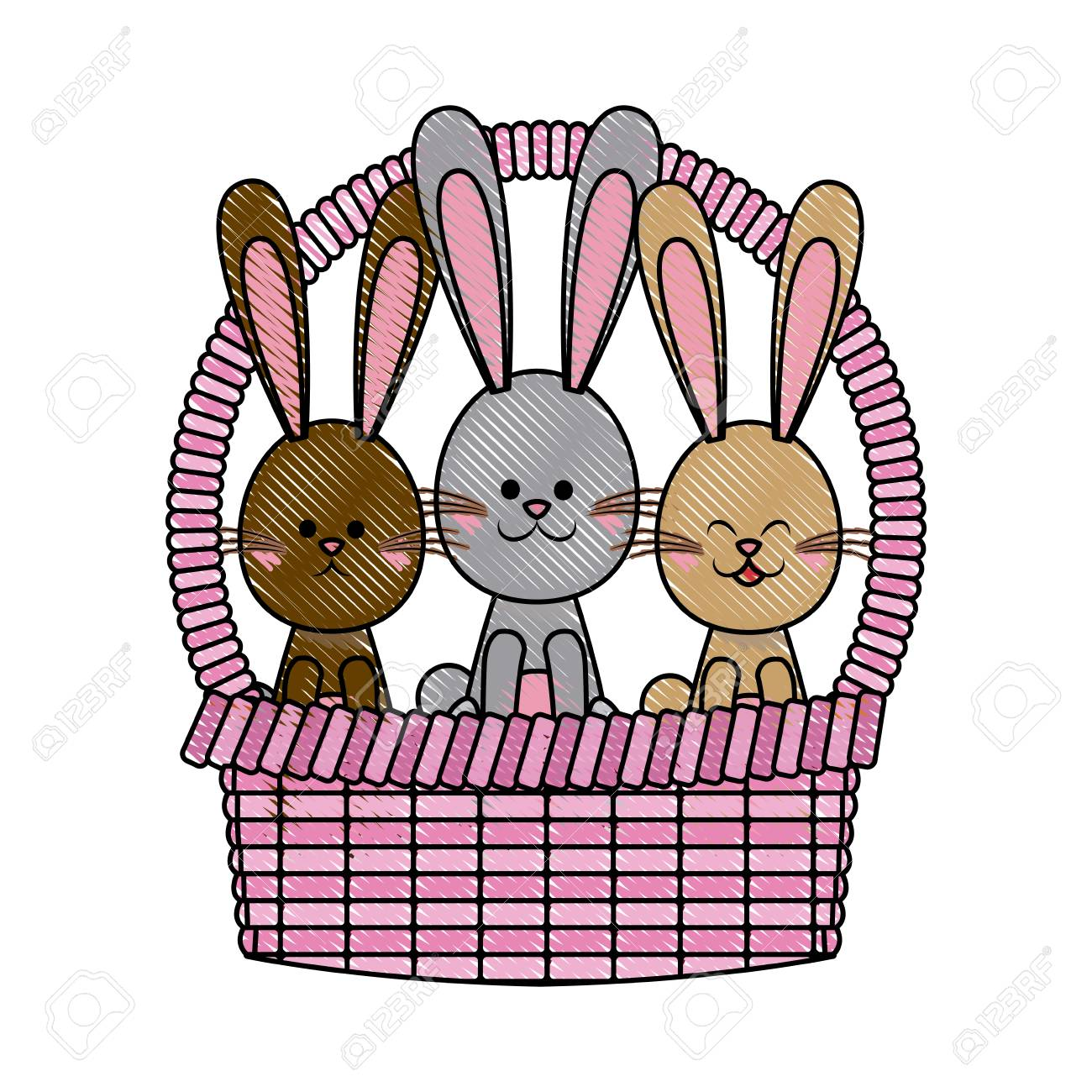 1300x1300 Drawing Easter Basket With Rabbits Adorable Celebration Vector