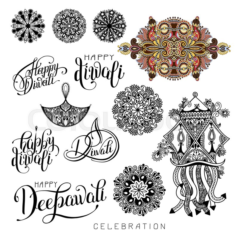 800x800 Set Of Black And White Hand Drawing Design Element Lettering
