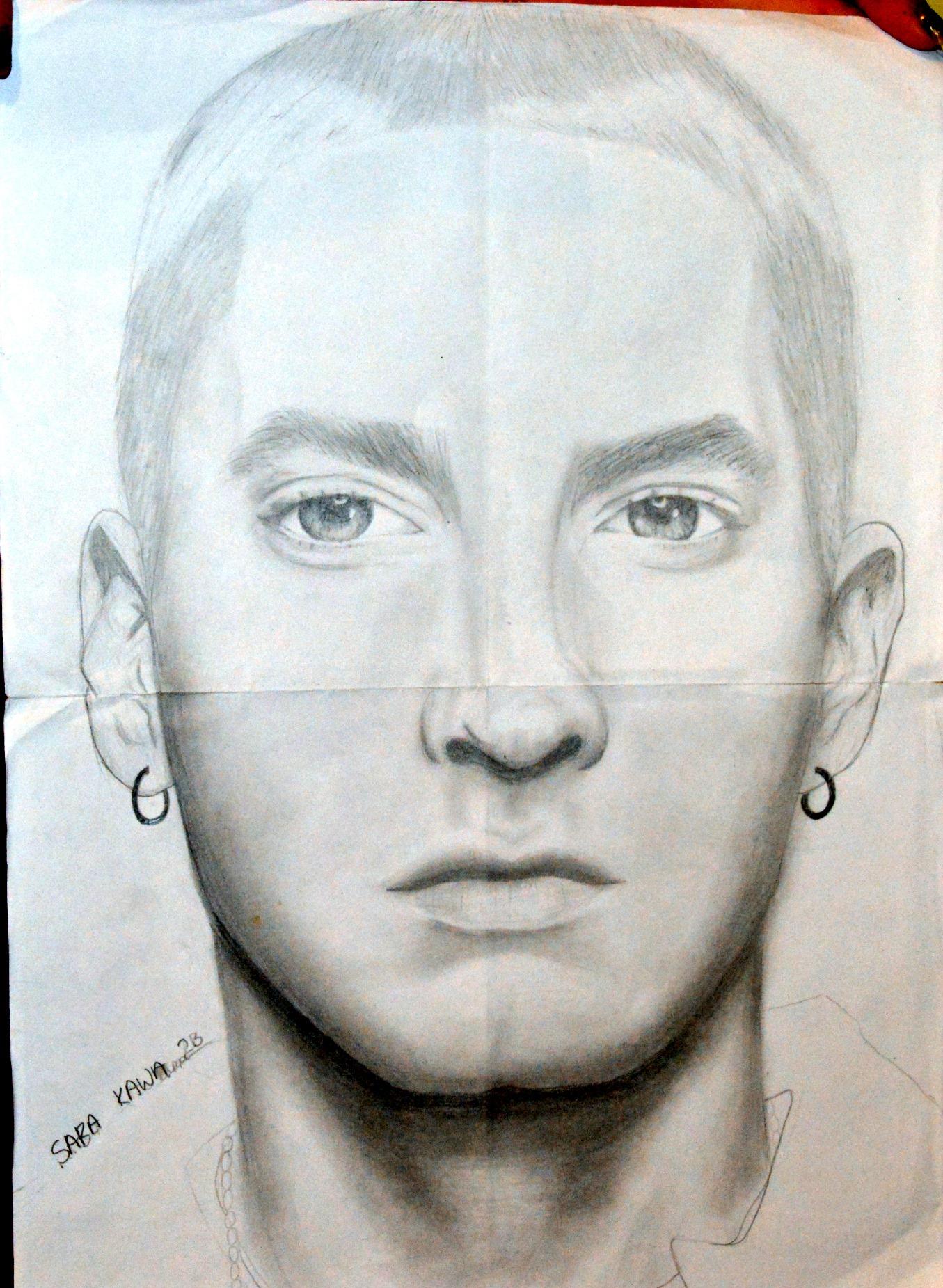 1355x1851 Eminem Pencil Drawing Full Hd Wallpapers Drawn Celebrity Eminem