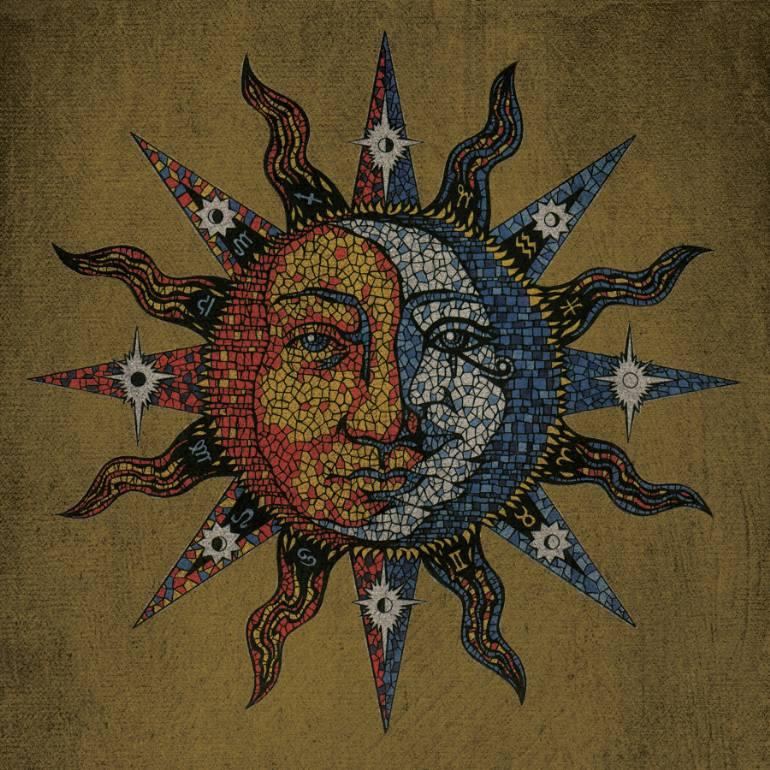 770x770 Saatchi Art Vintage Mosaic Celestial Sun Amp Moon Drawing By David