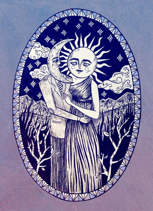 500x687 Love Drawing Illustration Art Design Moon Artwork Sun Magic