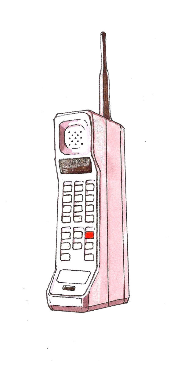 570x1199 Items Similar To 80s Brick Cell Phone Art Print Hand Drawing