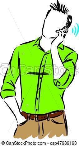 254x470 Man Talking Cellphone Vector Illustration Eps Vectors