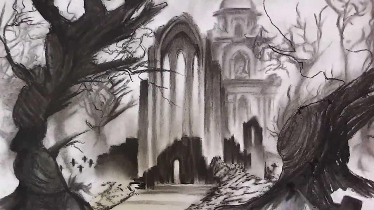 1280x720 Grim Landscape (Cemetery) Speed Drawing
