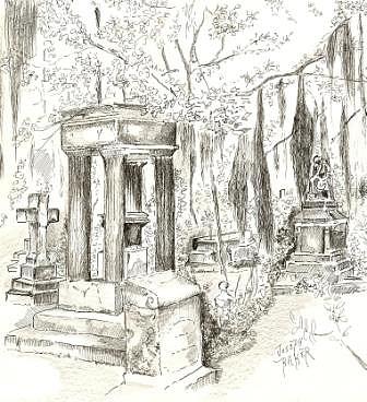336x368 Saint Bonaventure Cemetery In Savannah Drawing By Joseph Baker