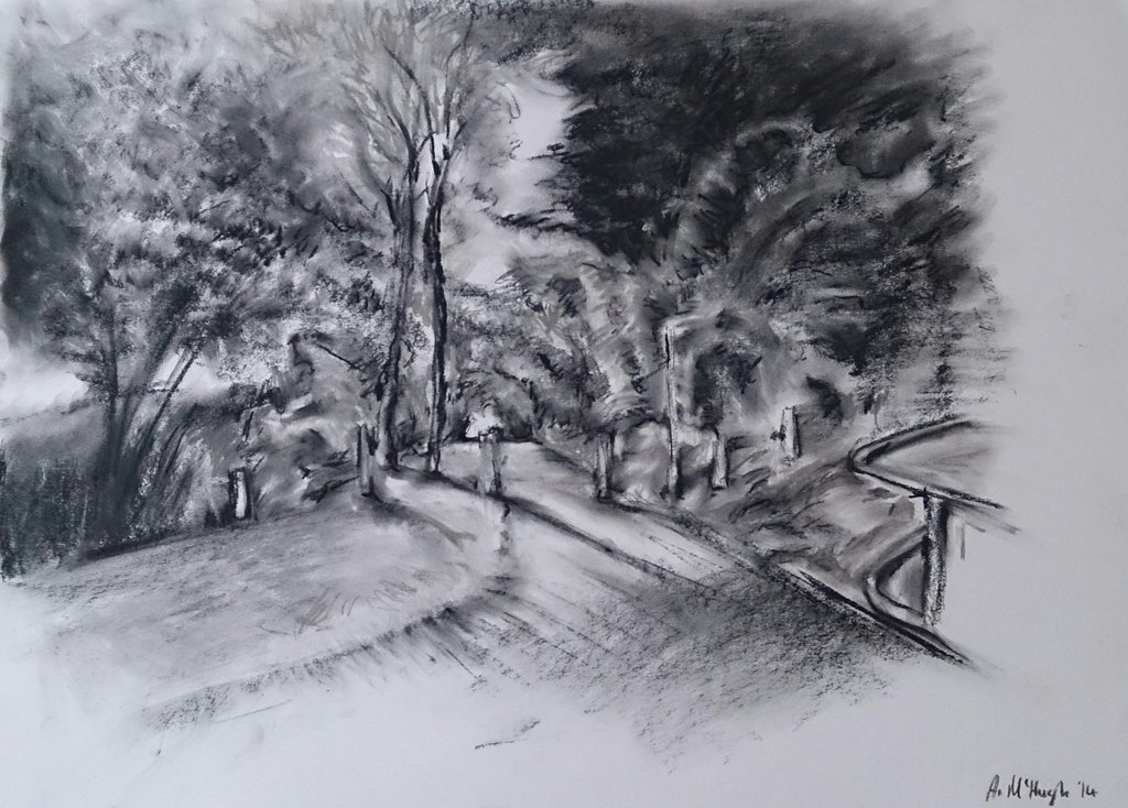 1024x734 Pathway To The Cemetery, Charcoal 2014 By Uniiquetouch