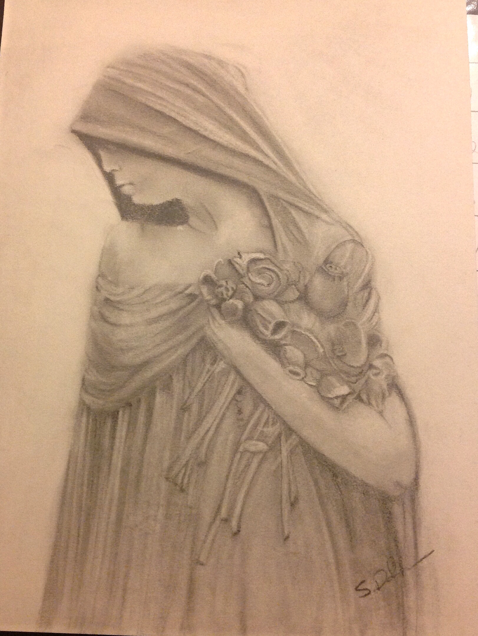 1540x2048 Sketch Art Drawing Of Cemetery Statue Sad Grief Graphite Pencil