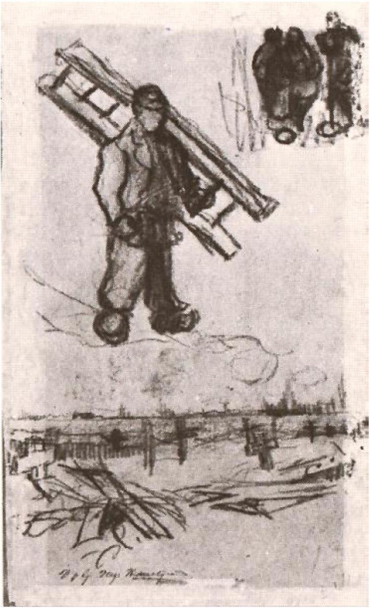 750x1232 Sketches Of A Man With A Ladder, Other Figures, And A Cemetery By