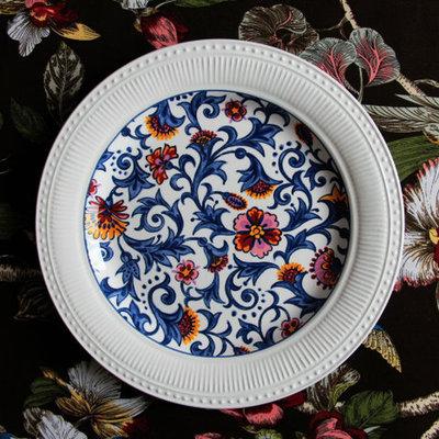 400x400 Fresh Ceramic Tableware Dessert Plate Colored Drawing Plate