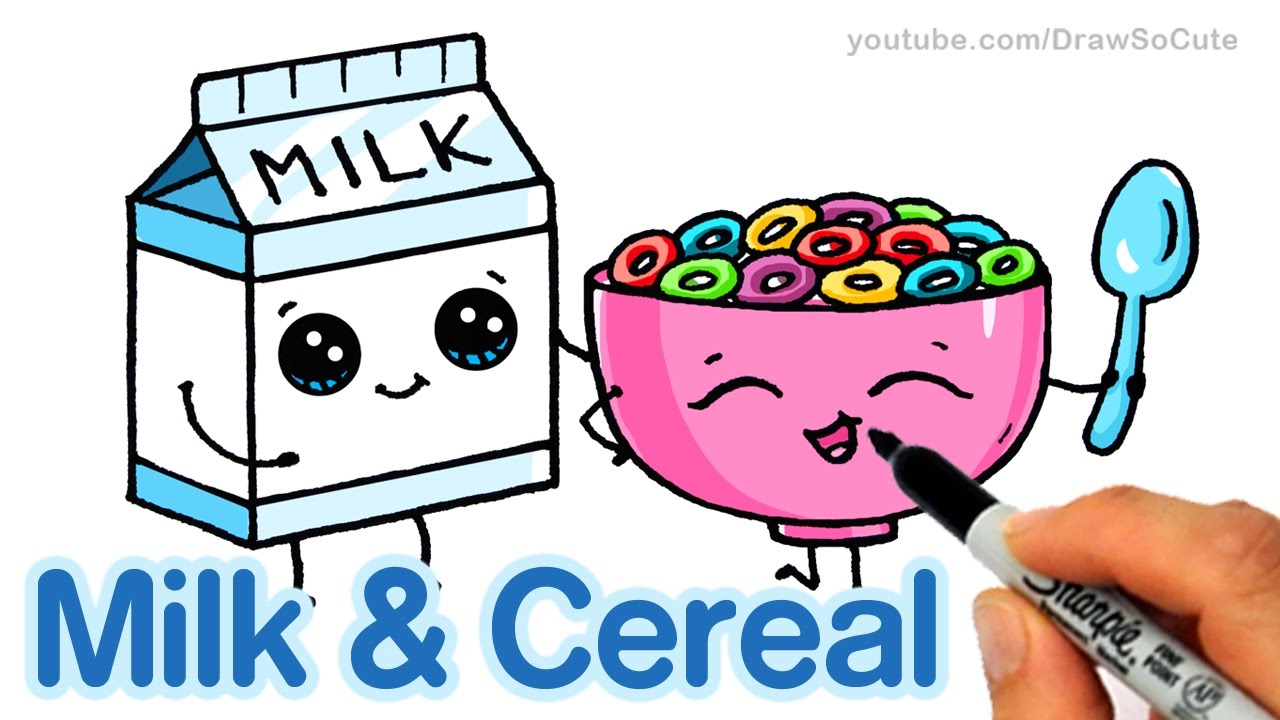 1280x720 How To Draw Milk And Cereal Easy