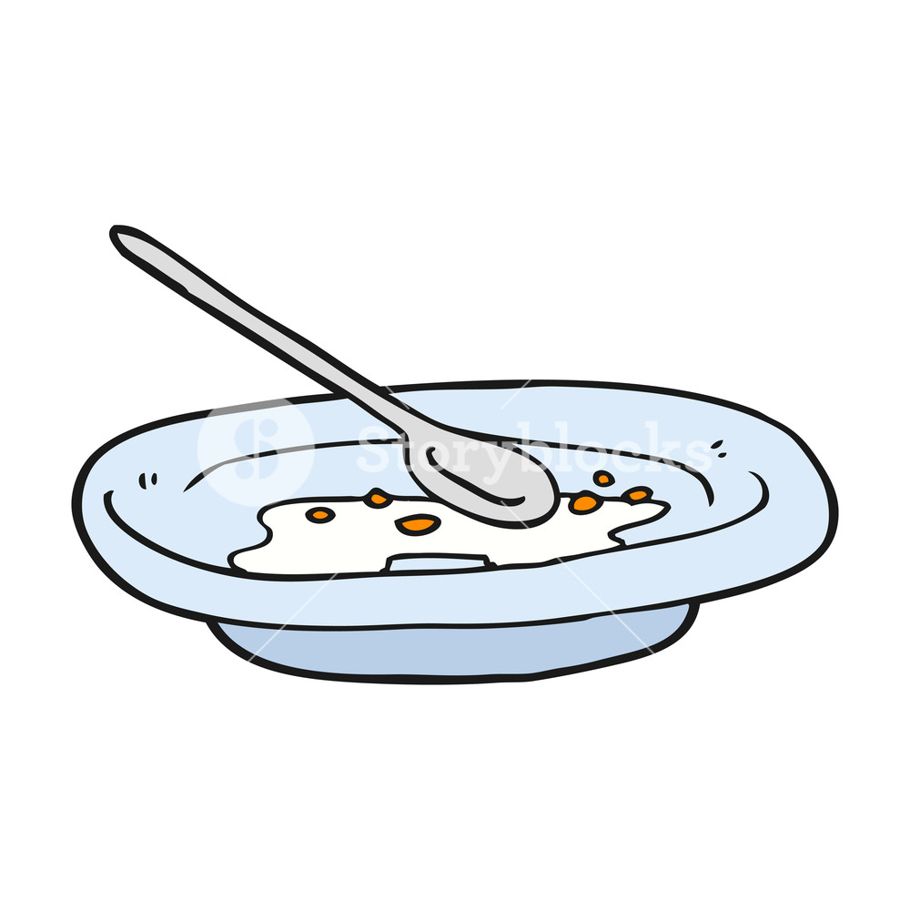 1000x1000 Freehand Drawn Cartoon Empty Cereal Bowl Royalty Free Stock Image