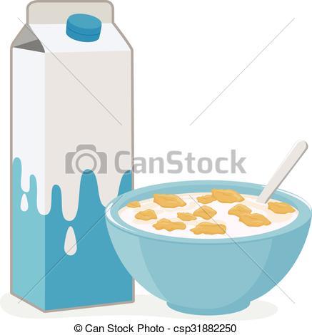 437x470 Bowl Cerealnd Milk Carton. Vector Illustration