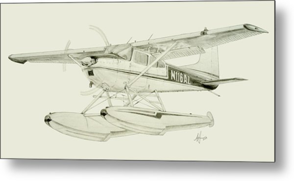 600x370 Cessna 180h On Floats Drawing By Nicholas Linehan