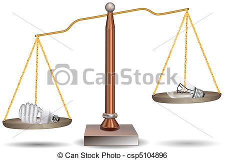 450x320 Illustration Of Bulb And Cfl In Beam Balance On White Clip Art