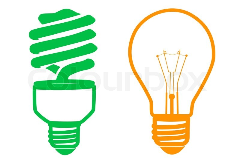 800x533 Illustration Of Cfl And Electric Bulb On White Background Stock