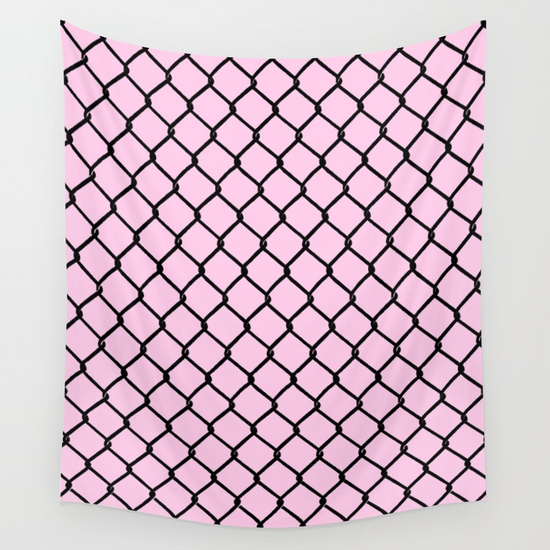 550x550 Chain Link Black On Blush Wall Tapestry.