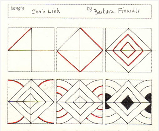 507x420 How To Draw Chain Link Zentangle Doodle