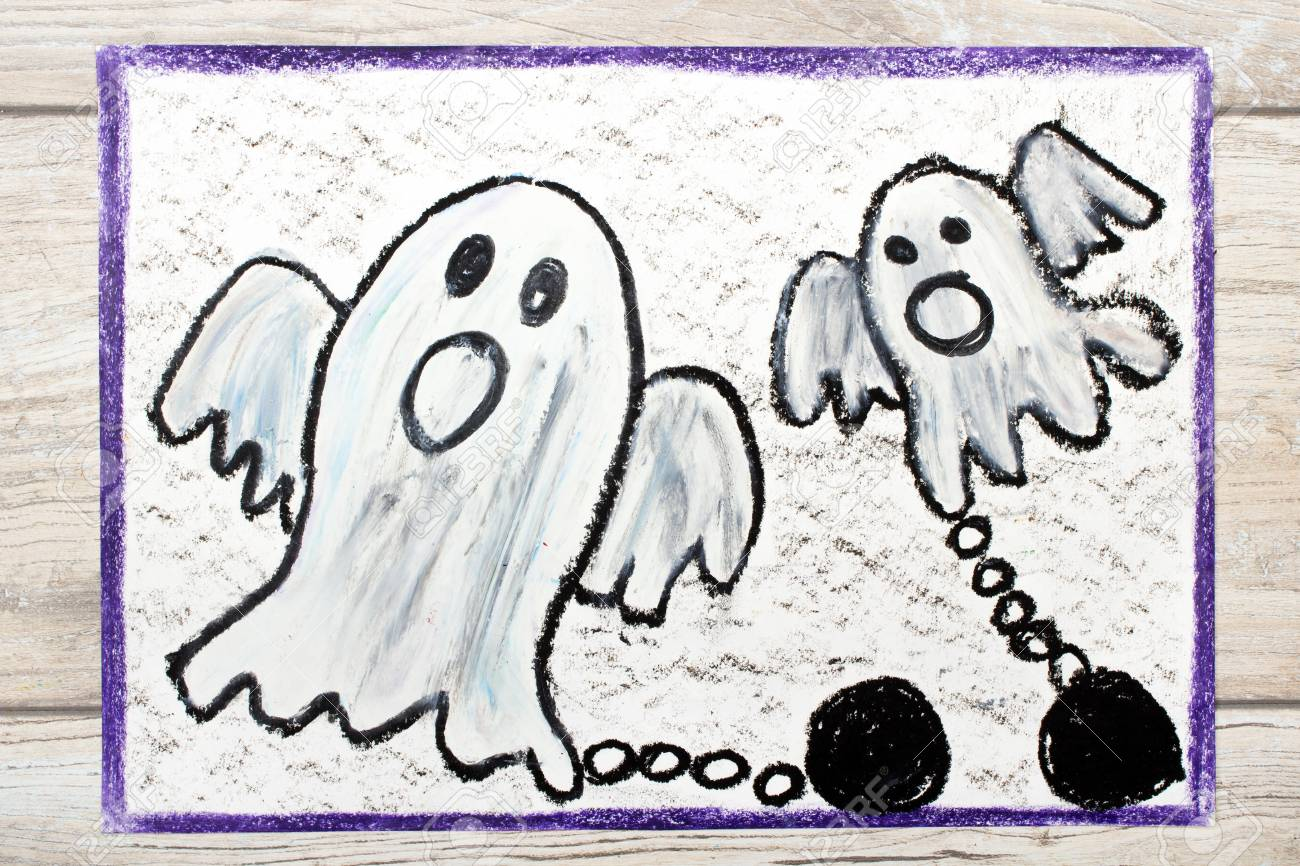1300x866 Photo Of Colorful Drawing Two Scary Ghost With Chains Stock Photo