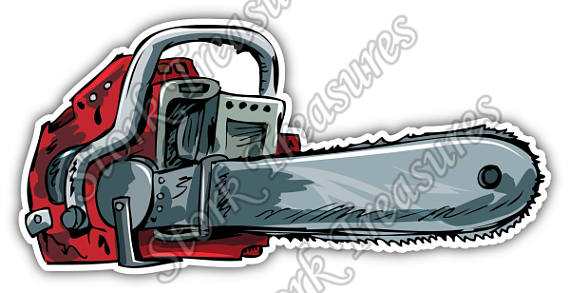 570x293 Chainsaw Chain Saw Lumberjack Logging Tree Car Bumper Vinyl