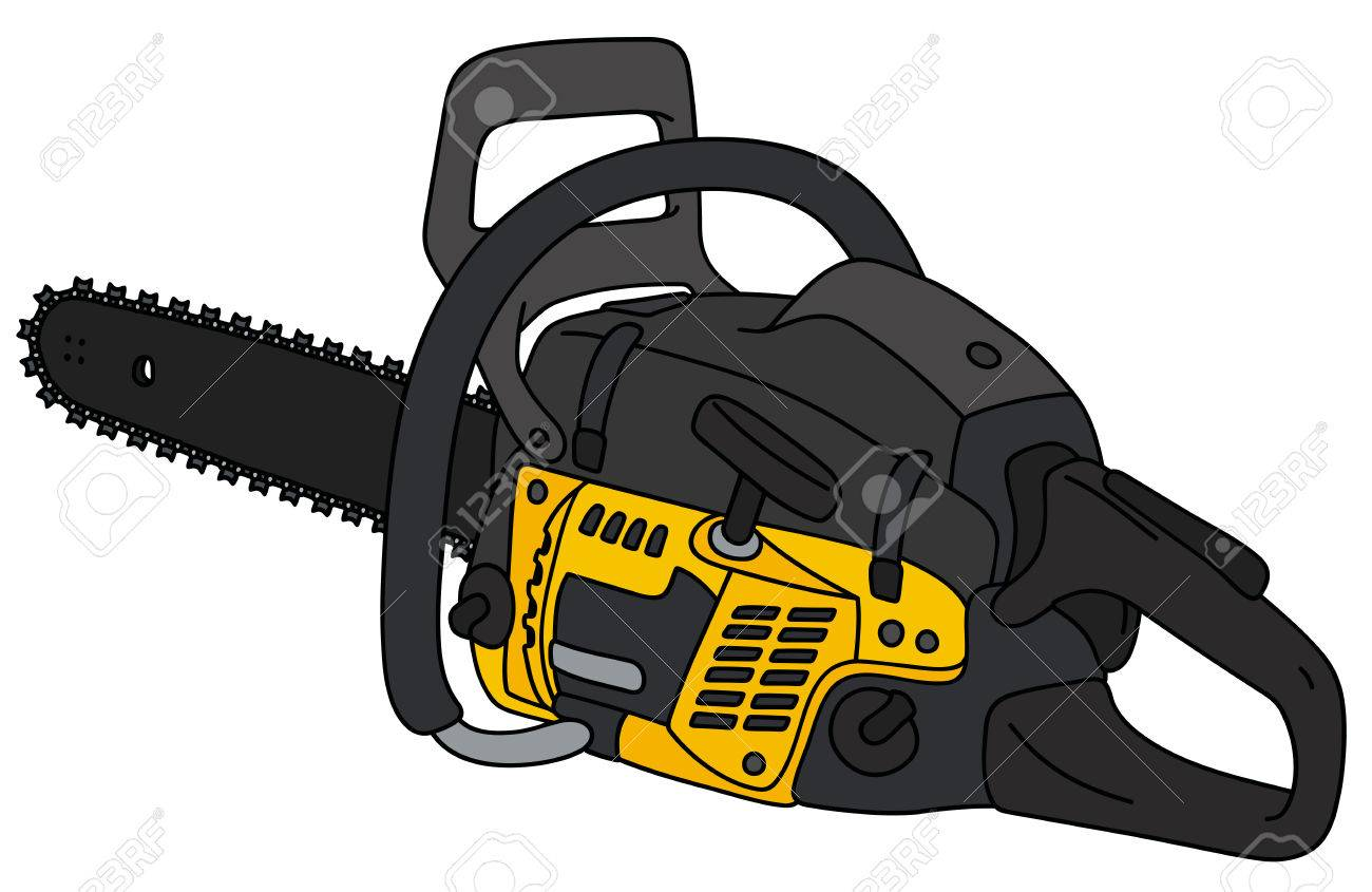1300x845 Hand Drawing Of A Black And Yellow Chainsaw Royalty Free Cliparts