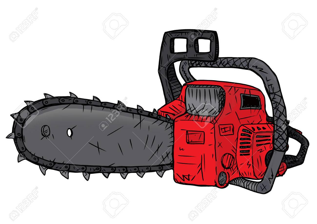 1300x919 Red Chainsaw For Cutting And Harvesting Of Trees Stock Photo
