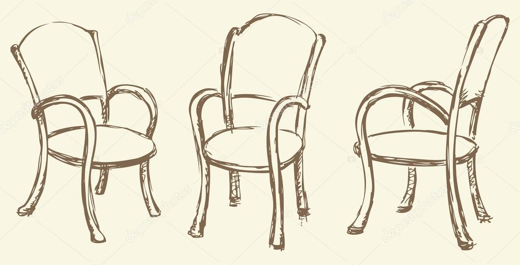 1023x523 Vector Drawing. Wooden Chairs With Armrests Stock Vector