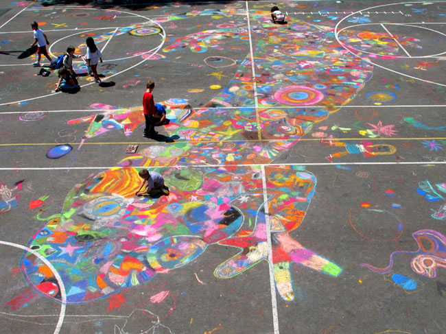 650x487 Chalk Drawing @ Your School Drawing On Earth Chalk Drawing